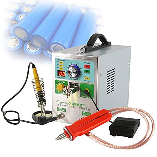 XYEJL Mini Soldadora Puntos,Batería Soldadora Puntos Pulso,con Iluminación LED Pantalla Digital Sistema Enfriamiento Kit Herramientas Soldadura,110V