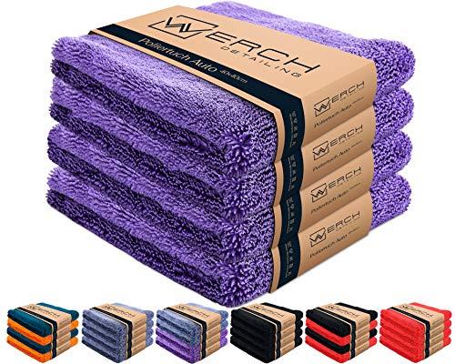 WERCH® 4X randloses Microfasertuch für Autopflege - Ultraweich und Lackschonend Dank 400 GSM - Mikrofasertücher für Auto Politur - 40x40 cm Poliertuch für Autolack (Violett)