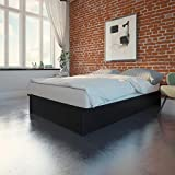 DHP Maven Platform Bed with Upholstered Faux Leather and Wooden Slat Support, Full Size - Black