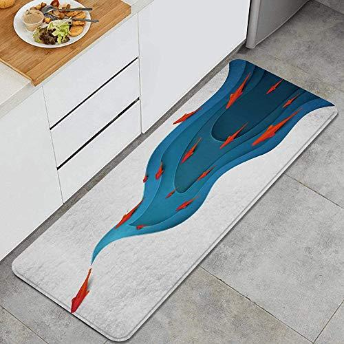 SUHETI Alfombra de Cocina,Pez Koi en el Agua Origami Moderno Día Mundial del Medio Ambiente Animales Vida Silvestre,Alfombrilla de Cocina Antideslizante Gruesa(45*120cm