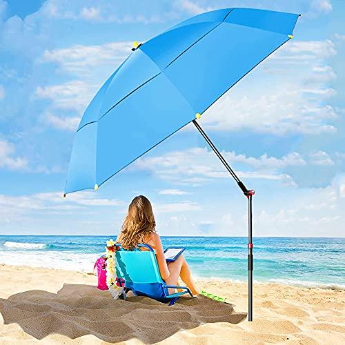 ELLENS Sombrilla de Playa portátil de 240 cm, Refugio Solar para Patio al Aire Libre, protección UV 50+, botón inclinable y Bolsa de Transporte (Rojo/Azul)