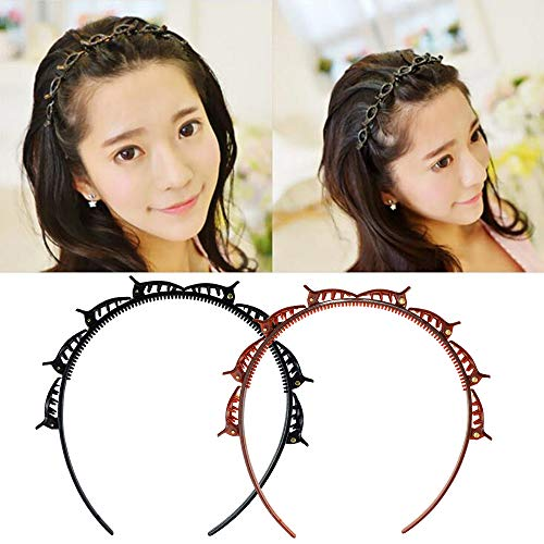 Lnlofen 2Pcs Hollow Woven Headband with Clips, Fashion Braided Headbands Double Layer Twist Plait Headband Hair Tools, Double Bangs Hairstyle Hairpin for Women Girls (Brown & Black)
