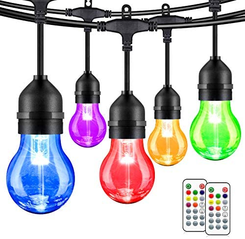 2 Pack 48FT Multicolor LED String Lights Outdoor Dimmable RGB Patio Lights with 30 5 E26 Plastic product image