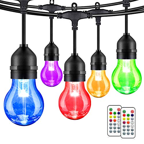 2-Pack 48FT LED Outdoor String Lights, Dimmable RGB String Lights with 30+5 E26 Plastic Bulbs, Remote Control, IP65 Waterproof Commercial Grade for Patio, Backyard, Garden, Party
