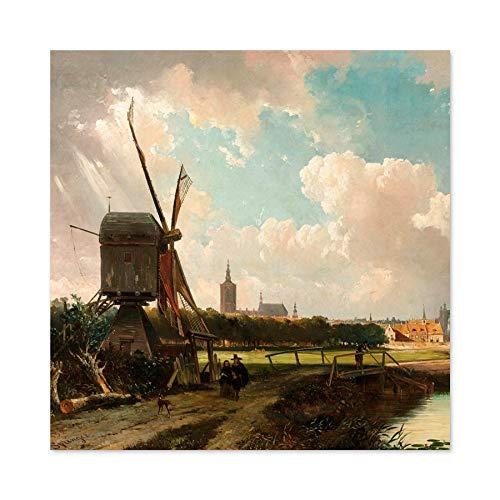 Springer Weergave Van Den Haag Van Delftsevaart Grote Muur Kunst Poster Print Dikke Papier 24X24 Inch