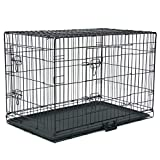 Valcatch Cat Dogs Crate with Double Door/Tray/Handle, Folding Metal Cage Pet Kennel, Black, 24'/30'/36'/42'/48'