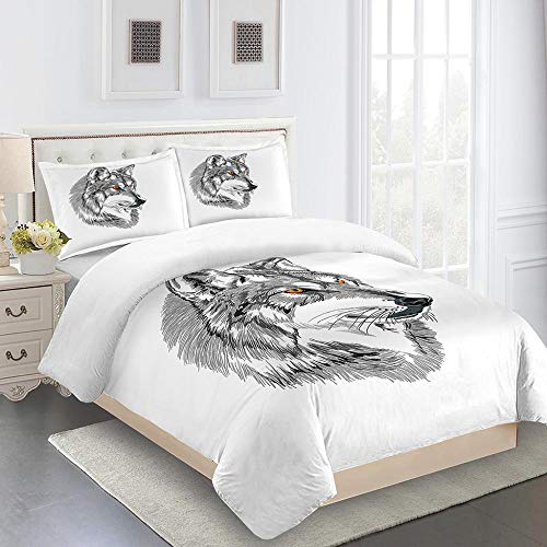 N / A 3D Printed Bedding Set 3Pcsanimal Wolf 3D Effect Anti-Moisture Smooth And Comfortable Microfiber Polyester Ultra Soft Breathable Bedding Set 200X200Cm