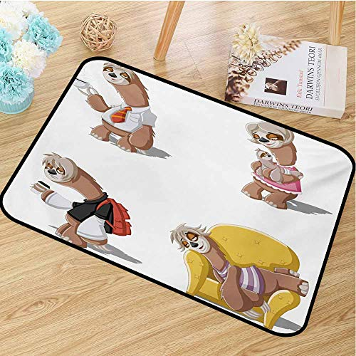 hengshu Sloth Inlet Outdoor Door mat Cartoon Lazy Sloths Family Father Mother Baby Resting Drinking Coffee Going to Work Catch dust Snow and mud W35.4 x L47.2 Inch Multicolor