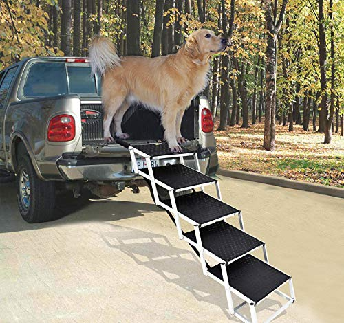 Portable Dog Car Step Stairs, Folding Dog Ramp for Large Dogs,Aluminum Frame Pet Stairs for Indoor Outdoor Use, Accordion Lightweight Auto Large Pet Ladder for Cars, Trucks,SUVs Cargo,and High,5 Steps