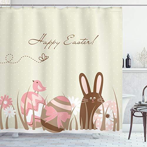 ABAKUHAUS Ostern Duschvorhang, Pastell tonte Eier Vögel, Hochwertig mit 12 Haken Set Leicht zu pflegen Farbfest Wasser Bakterie Resistent, 175 x 200 cm, Multicolor