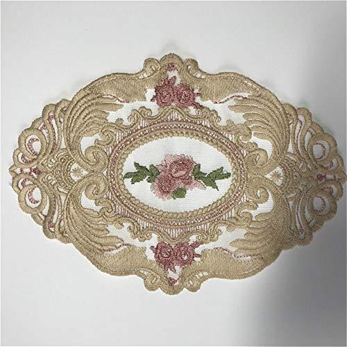 Klassische europäische Oval Spitze Gestickte Kaffeetisch Mat Coaster Vase Dessert Obstteller Mat Bankett-Partei-Hochzeit Dekoration (Farbe : Brown, Größe : Oval 16x23cm)