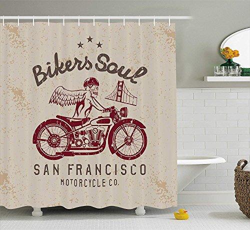 Retro Duschvorhang Biker Seele San Francisco Emblem mit Schädel Flügel Reiten Motorrad Tote Illustration Stoff Dekor Set mit Beige Rubin