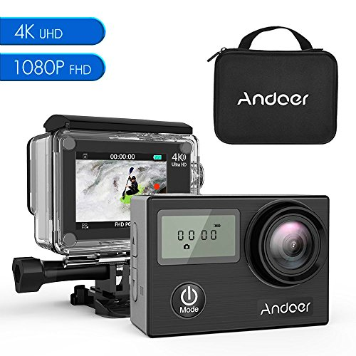Andoer Action Cam 4K WIFI Impermeabile 30m Doppio TouchScreen Subacqueo Sport Action Camera Full HD 1080P 16MP 170° Grandangolare , 2.0 Pollici Schermo LCD e Kit Accessori per Sport Esterni