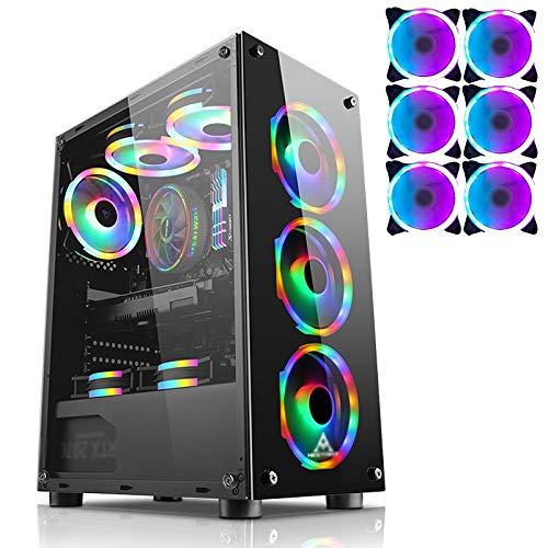 Caja Pc Gamer Estuche Para Juegos De PC Mid-Tower Negro, Chasis De Computadora ATX Premium Para Juegos Y Oficina, Vidrio Templado De Doble Cara - Listo Para Refrigeración Por Agua - Estuche Para PC US