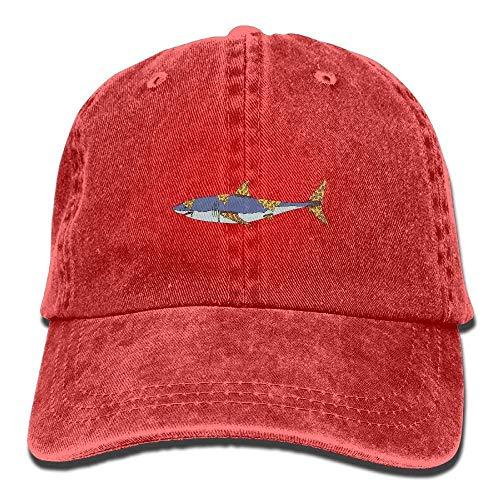 Pizza Shark Unisex Washed Adjustable Vintage Cowboy Hat Denim Baseball Kappen Unisex23