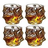 QAQA Vasos de Whisky Juego de 4 Vasos de Whisky Ultra Claridad sin Plomo pasada de Moda de Cristal, Vasos de Cristal de Bourbon, cócteles, Whisky, Vodka, 330 ml Beber