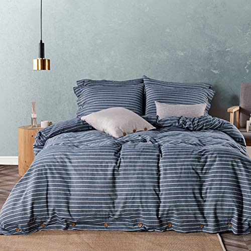 JELLYMONI Pinstriped 100% Washed Cotton Duvet Cover Set