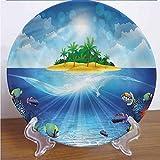 Channing Southey Plato decorativo impreso en 3D para acuario, de 8 pulgadas, con palmeras tropicales, cerámica, accesorio de decoración para mesa de comedor, mesa, fiesta, cocina, decoración del hogar