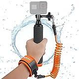 impugnatura galleggiante bastone impermeabile in alluminio selfie con testa supporto per action cam con cinturino da polso kit subacqueo per gopro hero9/8/7/6/5/4 apeman\ cooau\ crosstour\gookcam