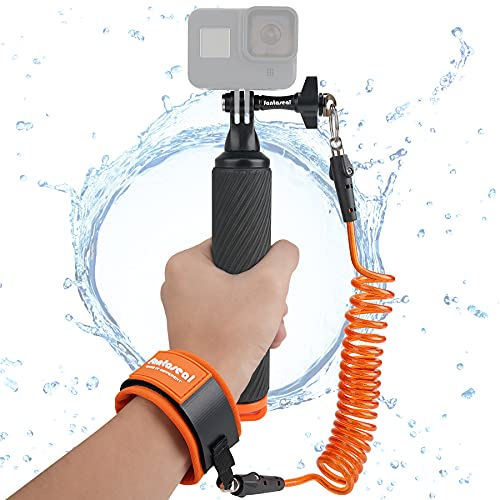 Action Kamera Handler rutschfest Floating Handgriff Halter Halterung Handstativ mit Sicherheit schwimmender Stahlkern Handschlaufe, für GoPro Sony DJI Apeman Unterwasser Camera Surfen Tauchen