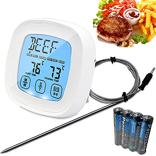one touch ultra 2s Digital Meat Thermometer, 2S Ultra Fast Instant Read Cooking Thermometer with 40'' Super Long Probe, 4 AAA Batteries, Alarm & Timer, Food Thermometer for Kitchen BBQ Grill Smoker Meat Oil Milk Yogurt