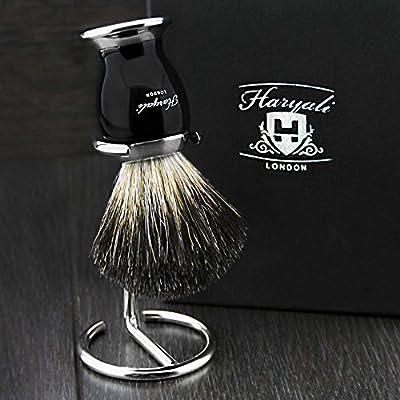 Black Badger Hair Men's Shaving Brush with Black & Metal Handle & Chrome Stand