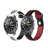 PaceBid 2 Pezzi Cinturino Compatibile con Galaxy Watch 46mm/ Watch 3 45mm/Huawei watch GT2 46mm/Watch GT Active/Watch GT 2e, Cinturino per Gear S3/Gear 2/ Vivoactive 4/Ticwatch Pro (Red+White)