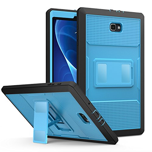 MoKo Case Fit Galaxy Tab A 10.1 2016, Heavy Duty Full Body Rugged Cover with Built-in Screen Protector for Samsung Galaxy Tab A 10.1 2016 Tablet (Sm-T580/Sm-T585, No Pen Version) Only, Blue&Dark Grey