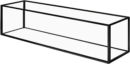 Koyal Wholesale Long Glass Candle Holder Centerpiece Box, Black 16 x 4 x 4 Inches, Centerpiece Tray Decor, Long Wedding Table Centerpiece Decorations