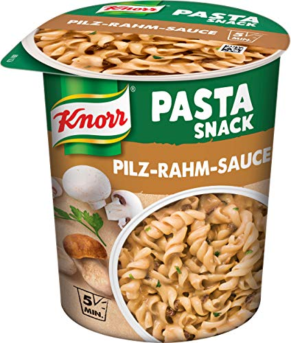 KnorrSnack Bar Nudeln in Pilz-Rahm-Sauce, 8er Pack (8 x 70 g)