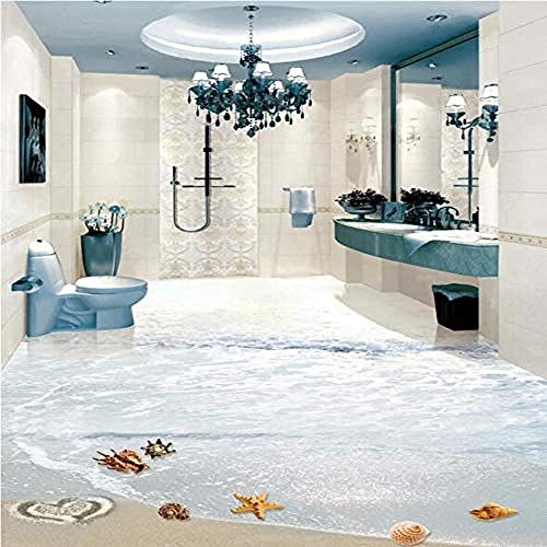 ZJfong 3D vloeren mural pvc behang modern strand starfish conch 3d vloer tegels schilderen badkamer keuken waterdicht wooncultuur sticker 420 x 260 cm.