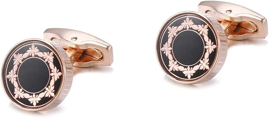 GYZX Men's Cufflinks Gifts Daily Business Accessories Trendy Retro Round Rose Gold Pattern Shirt Cuff Links (Color : Rose Gold, Size : As Shown)