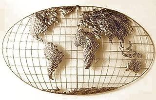 SEI World Map Wall Art - Iron Metal Frame w/Gold Finish - 3D Sculpture Unique