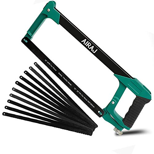 AIRAJ 12-inch Hacksaw Frame with 11 Replaceable Saw Blades and