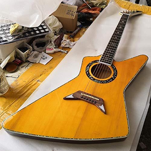chushi Guitarra Acústica Perla con Incrustaciones Y Unión De Guitarra Acústica De Colores De Color De Cáscara De Acero Acústico Guitarras De Cuerda De Acero Zzib (Size : 39 Inches)