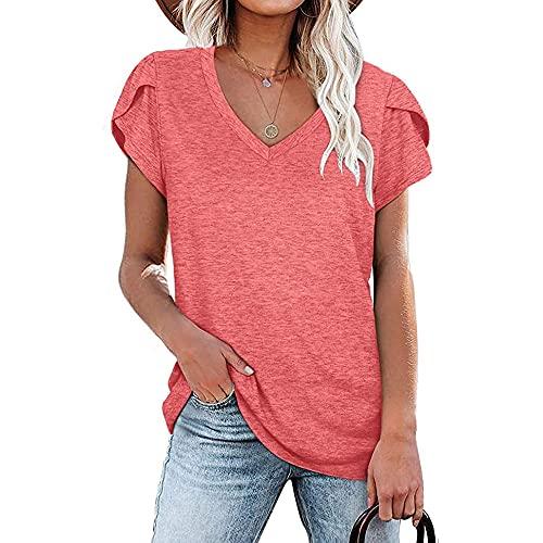 Mayntop Camiseta de verano para mujer, color liso, manga corta, manga corta, con pétalo, ajuste holgado, para mujer, A-rosa, 42