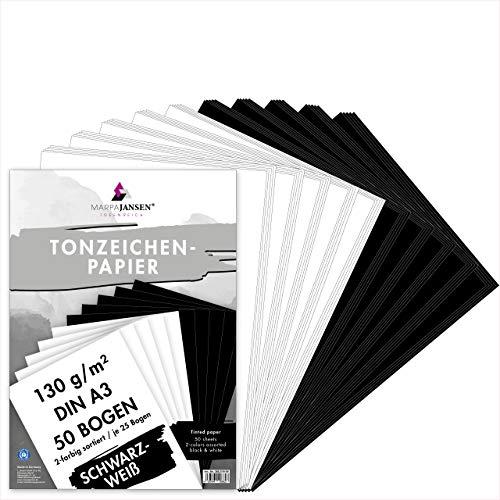 MARPAJANSEN Tonzeichenpapier Schwarz/Weiß, DIN A3, 50 Bogen, je 25 Bogen in schwarz & weiß 130 g/m², Blauer Engel Zertifiziert