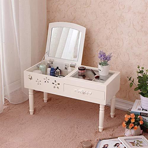 noyydh Mini Vestir tirón Tabla Espejo de baño Gabinete de Escritorio pequeño Mirador Gabinete de Almacenamiento 60x36x30 (Color : White)