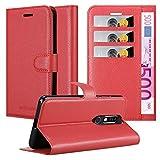 Cadorabo Hülle für Nokia 8.1 2019 in Karmin ROT - Handyhülle mit Magnetverschluss, Standfunktion & Kartenfach - Hülle Cover Schutzhülle Etui Tasche Book Klapp Style