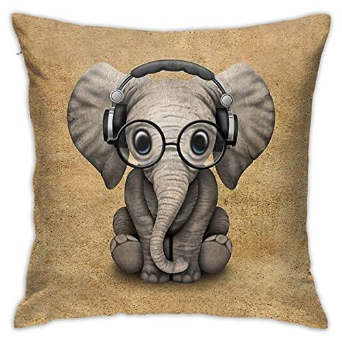 qidong Funda de almohada decorativa con diseño de elefante B con auriculares y gafas, para sofá, dormitorio, 45,7 x 45,7 cm