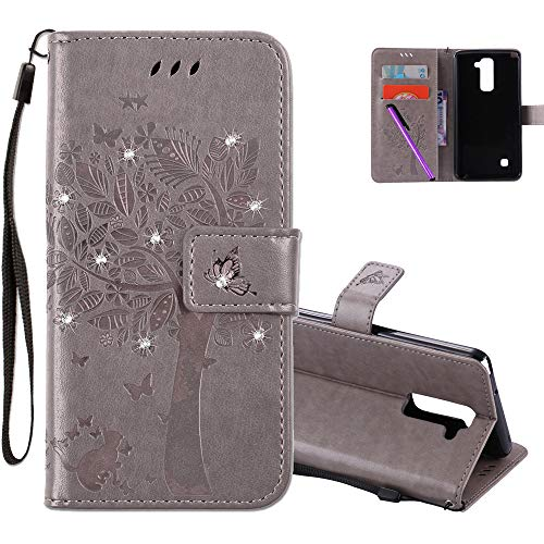 COTDINFOR LG Stylus 2 Hülle für Mädchen Elegant Retro Premium PU Lederhülle Handy Tasche mit Magnet Standfunktion Schutz Etui für LG Stylus 2 / LS775 Gray Wishing Tree with Diamond KT.