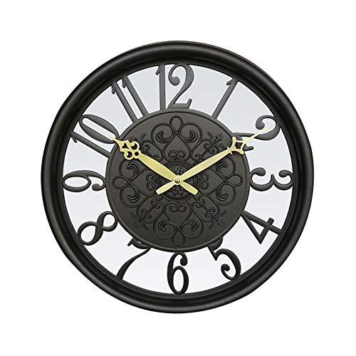 Tafel houlian winkel Ronde Vintage Stille Wandklok Met Nieuwigheid Holle Ontwerp Voor Home Office Decoratie Geschenken 15in Zwart