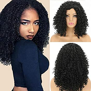Kinky Curly Bob Wigs For Black Women African American Jerry Curl Wig Synthetic Hair Short Natural Looking Wigs Shoulder Length Heat Resistant Fiber 1B Color 16 Inch