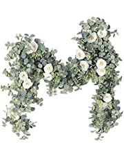 Artificial Flower Eucalyptus Garland with Champagne Roses 6ft Fake Silk Vine Decorations Hanging Faux Leaves Floral Greenery for Wedding Office Home Party, Garden Arch Table Decor