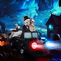 Kooper Halloween Decorations Skull Figurine Gothic Resin Halloween Lights with Color Changing Car Lights