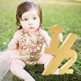Huray Rayho Wooden Half Sign 1/2 Baby Birthday Party Supplies Photo Prop for 6 Months Birthday Birthday Decor Age Sign Large Numbers