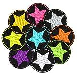Bügelflicken Stern 9 mini Flicken zum aufbügeln Neon Sterne auf schwarz ø 3,5cm Aufbügler bunte kleine Patches Hosenflicken