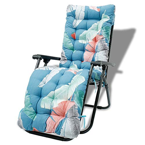 67 Inch Patio Lounge Chair Cushion, Indoor/Outdoor Floral Printed Sun Lounger Pad Replacement with Ties Non-Slip High Back Chair Cushions(Chair Not Included) (Style 2)