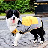 Umora 犬用レインコート カッパ 雨具 通気 帽子付 散歩用 小型犬 中型犬 大型犬(オレンジ+グレー S)