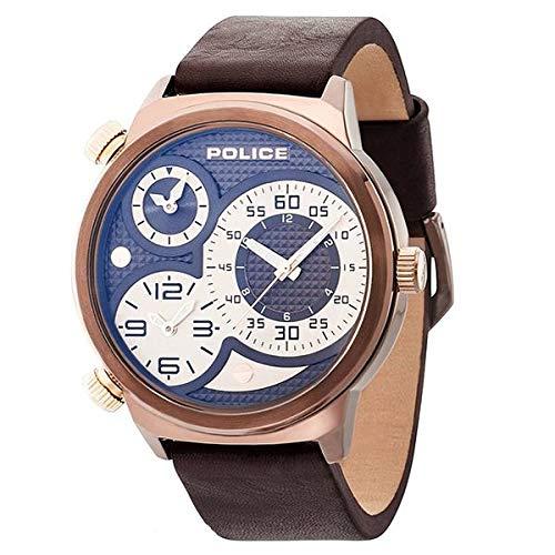 Police Herren Chronograph Quarz Uhr mit Leder Armband PL.14542JSBN/65